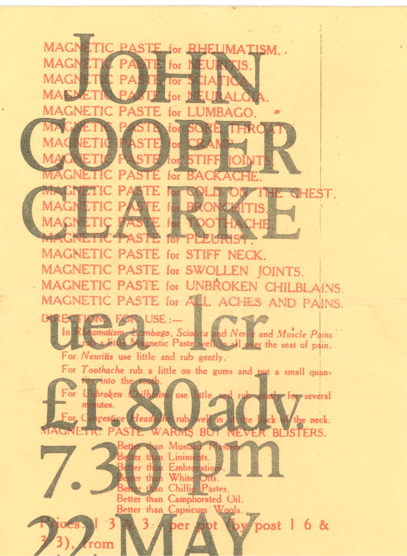 John Copper Clarke UEA