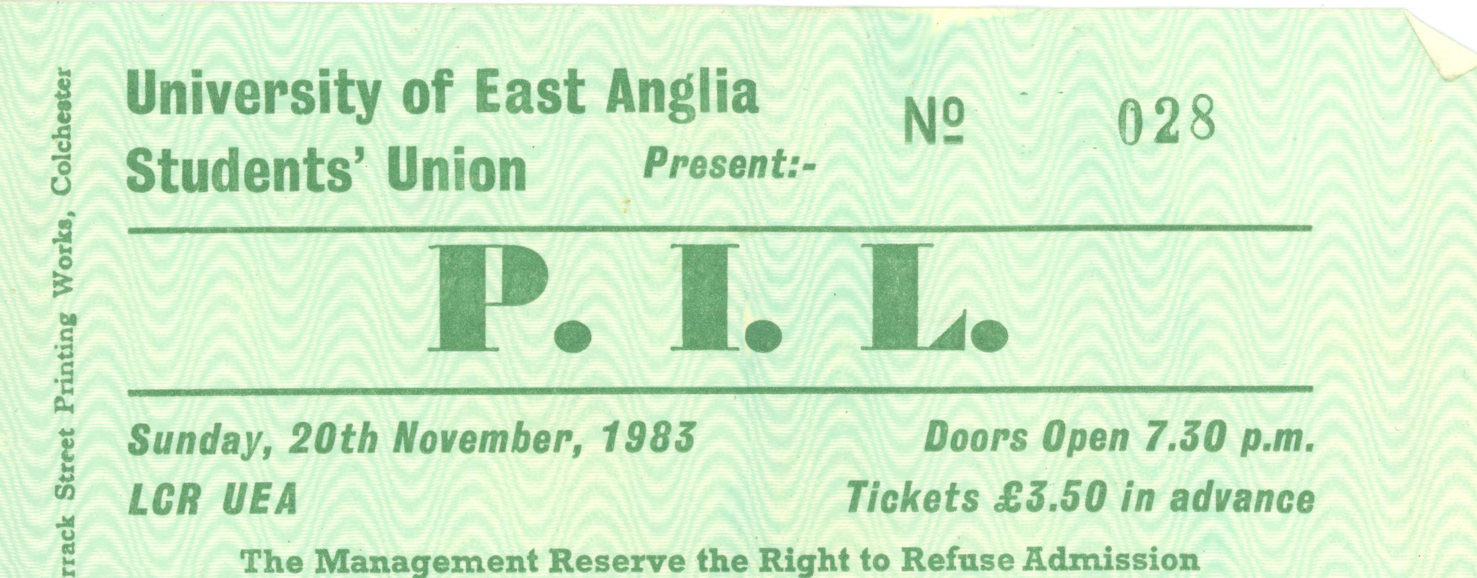 Public Image UEA 1983