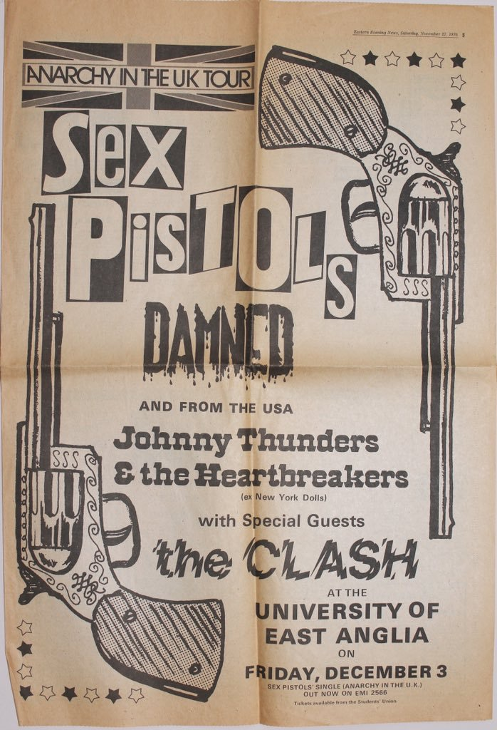 Sex Pistols Advert UEA Gig 1976