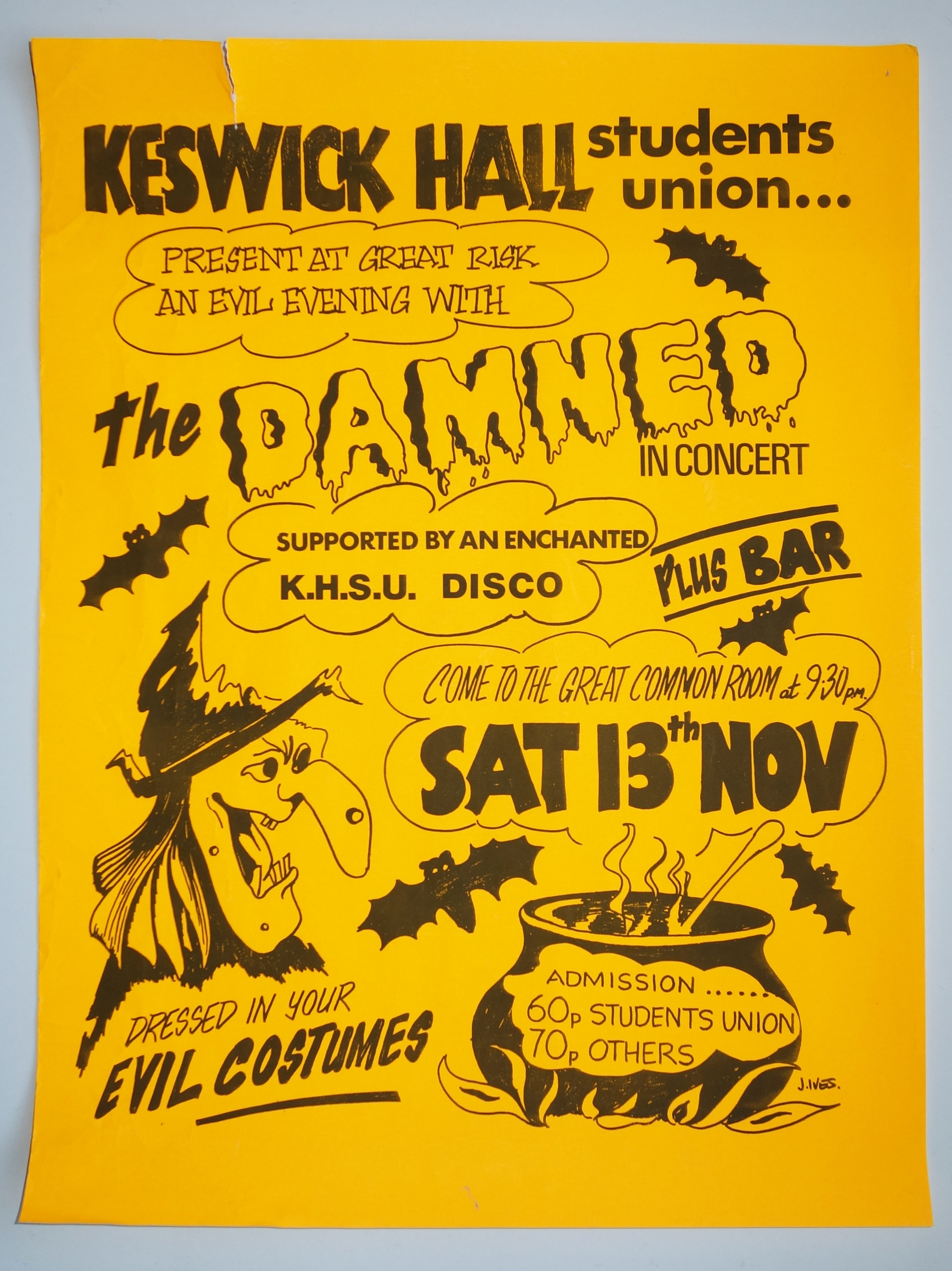 The Damned Poster, Keswick Hall, 1976