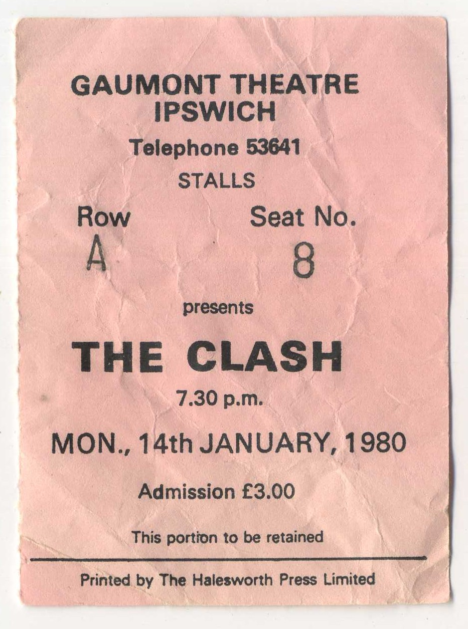 The Clash Gig Ticket, Gaumont Theatre, Ipswich, 14th January 1980