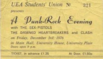 Ticket for banned Sex Pistols gig at UEA, 1976
