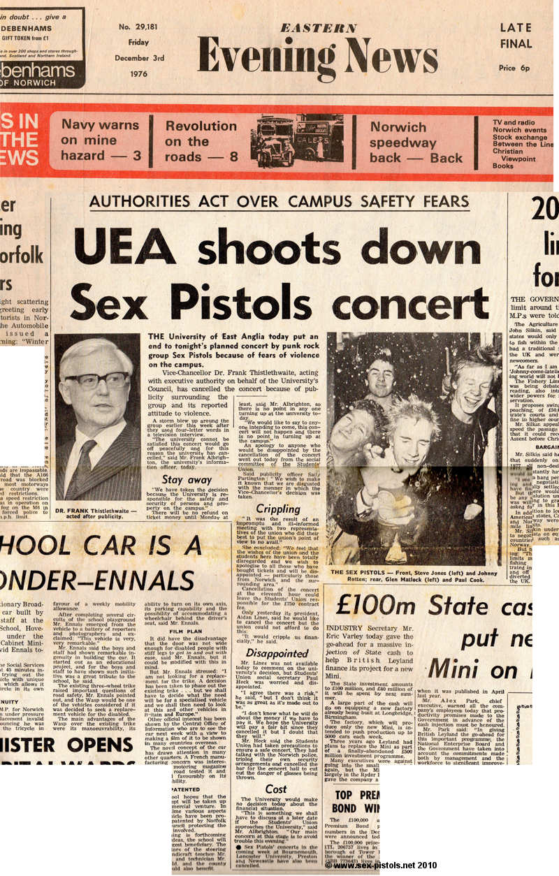 'UEA shoots down Sex Pistols concert' article, Norwich Evening News, December 1976