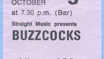 Buzzcocks gig ticket, St Andrew's Hall, Norwich, October 1978