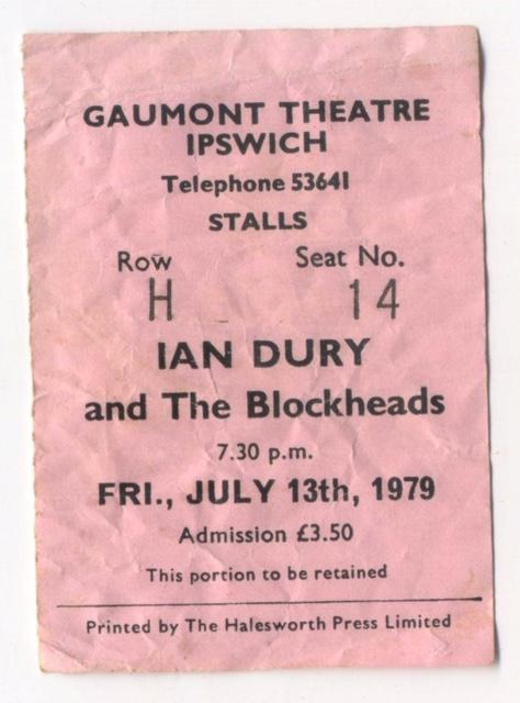 Ian Dury Concert Ticket, Gaumont Theatre, Ipswich, 1979